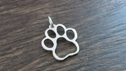 Paw Charm solid sterling silver Handmade in the Uk